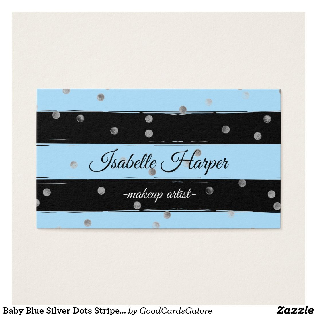 Baby Blue Silver Dots Stripes Business Cards Fun Pinterest