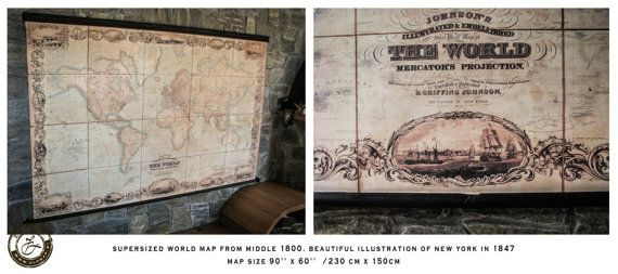 Amazing world map 1800, 90\'\' x 60\'\' , 230 x 150cm, Canvas, Victorian ...