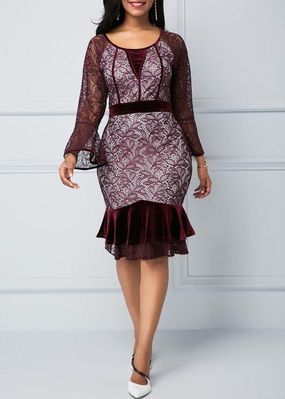 Us 33 96 Flare Sleeve Round Neck Frill Hem Lace Dress