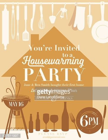 Housewarming party invitation with brown house silhouette on peach vector art housewarming party kitchen invitation stopboris Gallery