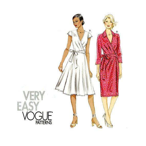 Vogue V8784 Wrap Dress Pattern Uncut Very Easy Flared Skirt or ...