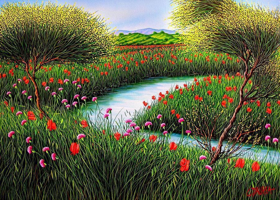 Spring Landscape By Daurea Giovanni Landscape Spring Landscape Landscape Paintings