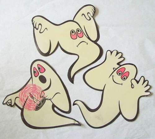 Vtg Beistle Glow In The Dark Ghost Die Cut Halloween Decoration Lot