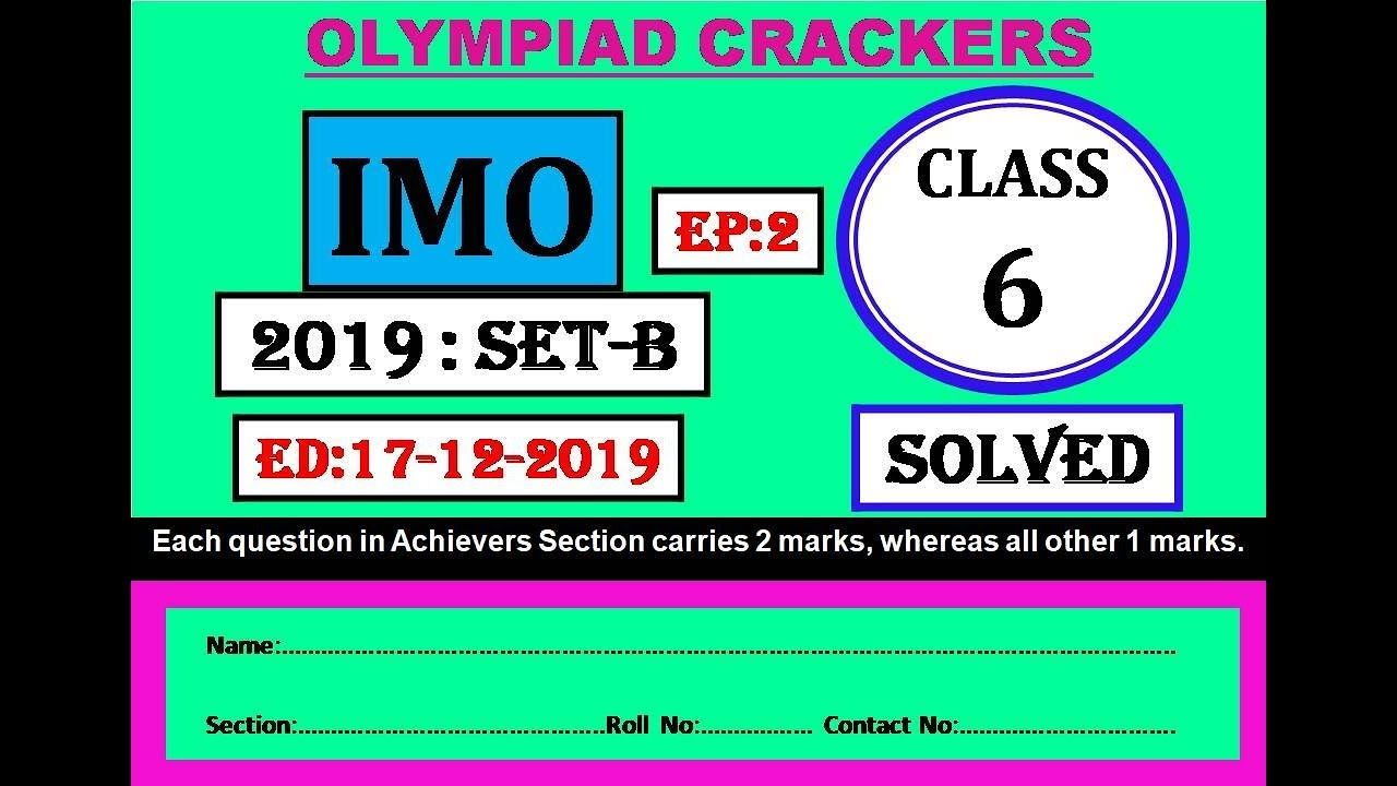 Imo 2019 20 Class 6 Set B Part 2 Math Olympiad Question