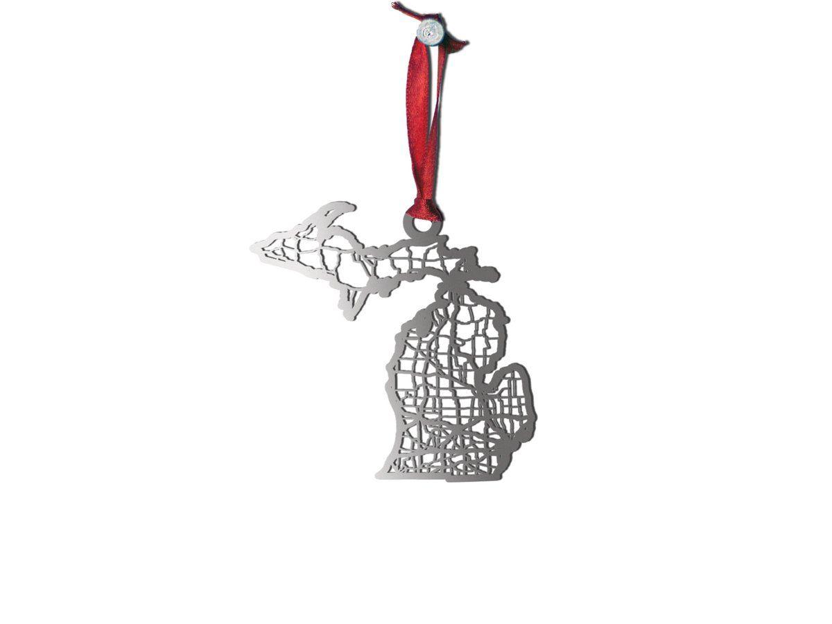 Michigan ornament in 2020 map ornaments steel ornament