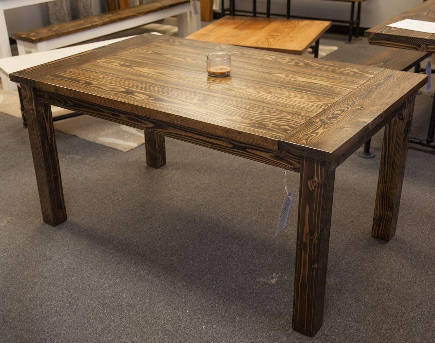 Solid Wood Farmhouse Table With Breadboards Distressed Dark Walnut Top Kitc