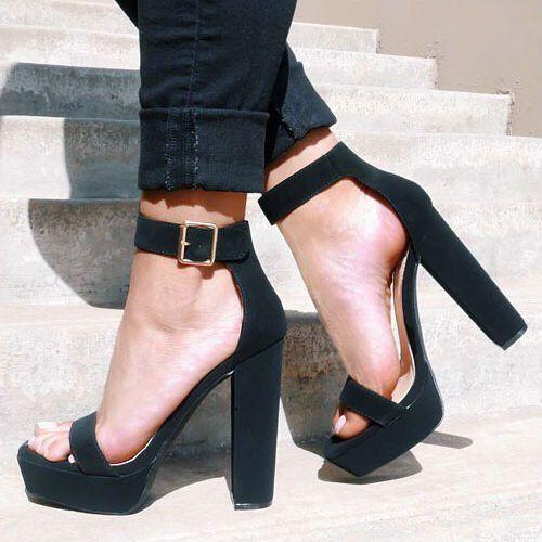 black ankle strap heels open toe