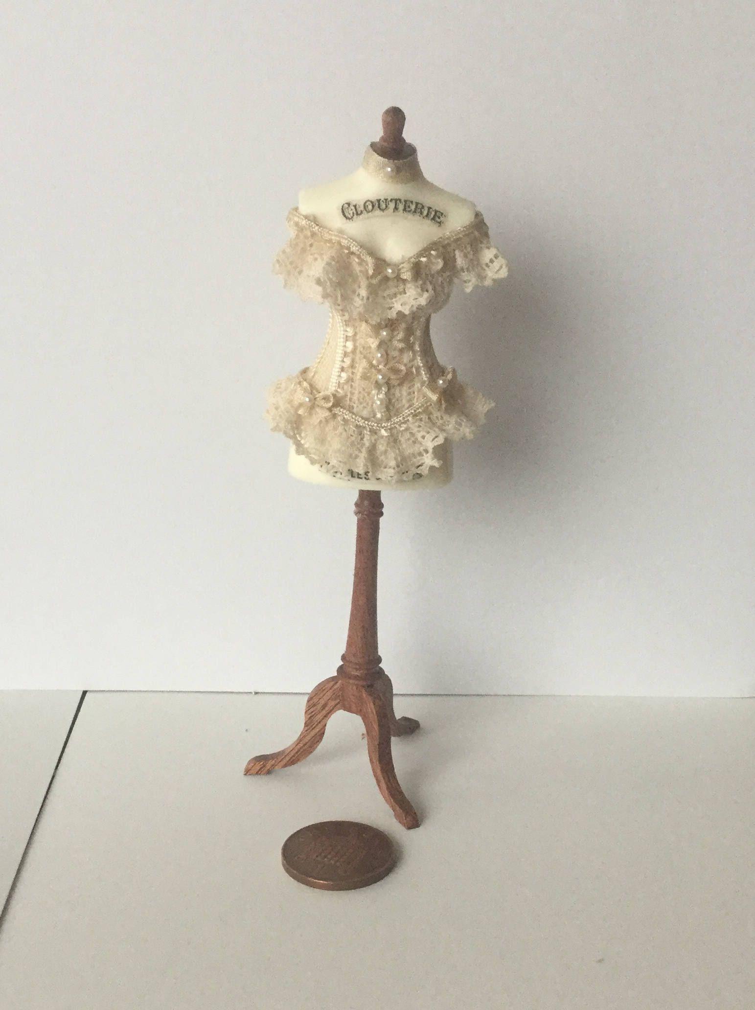 Miniature Vintage Victorian Corset   Sign Dollshouse 1:12 scale