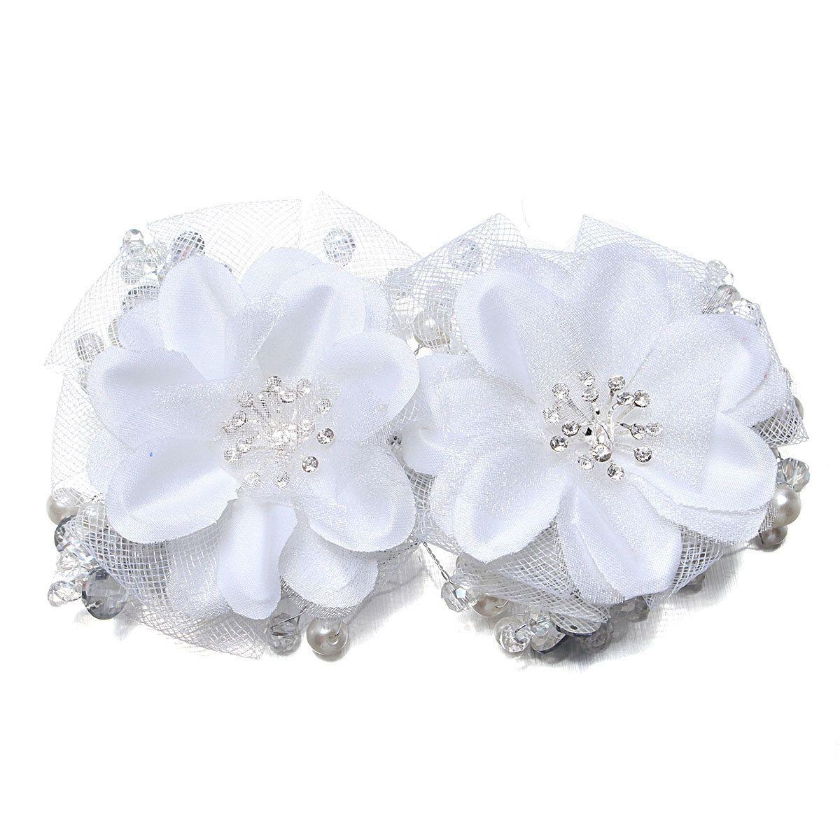 Bride Red White Flower Bridal Wedding Rhinestone Crystal