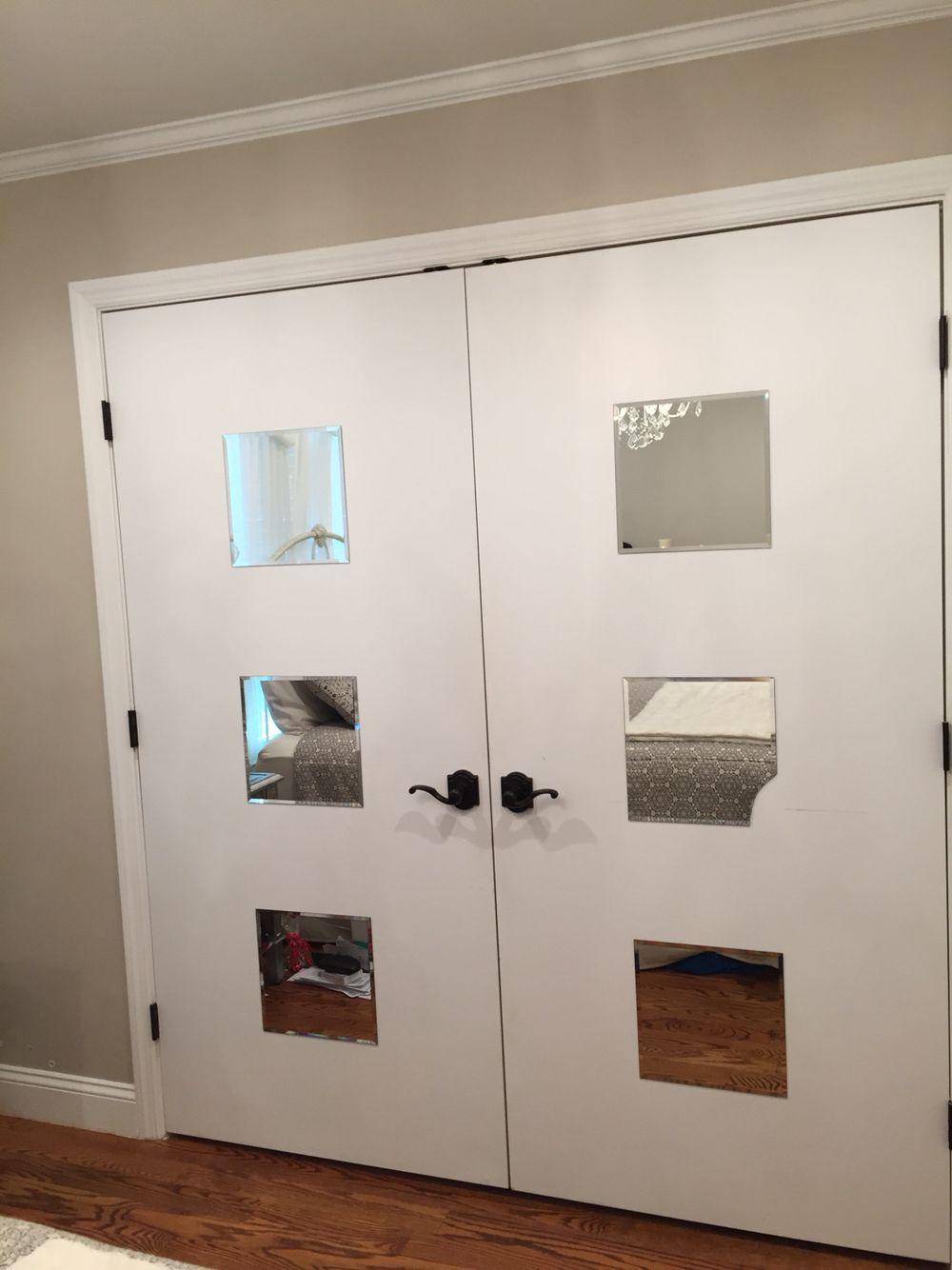 Custom made french door closet with mirrors from target