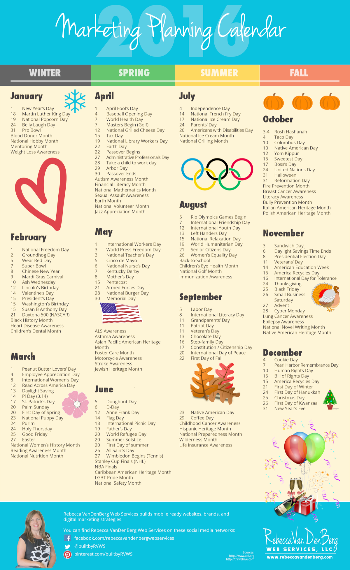 2016 Marketing Planning Calendar With Monthly Worksheets To Plan