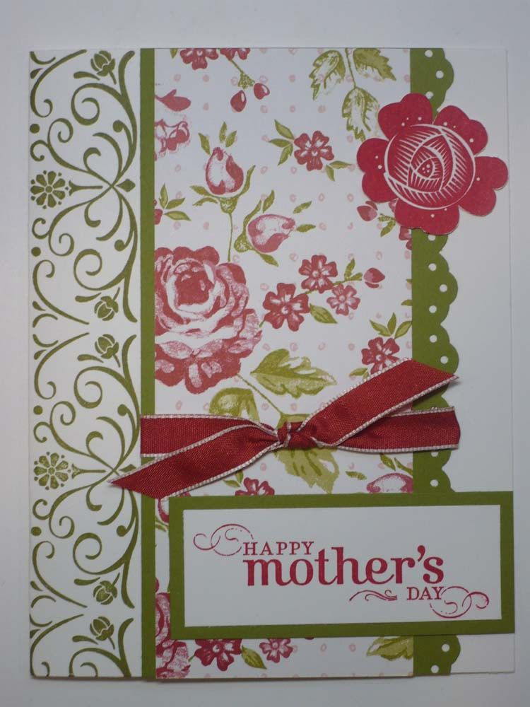 MOTHERS ROSE handmade Stampin Up Mothers Day card. $2.00, via Etsy.