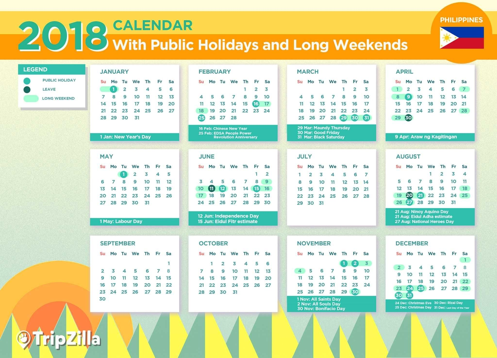 Calendar Holidays In Philippines In 2020 Holiday Calendar Marketing Calendar Template Calendar