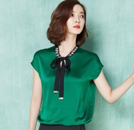 0ea3674385 2016 verão mulheres chiffon de seda do pescoço blusa manga curta blusa  senhora escritório trabalho OL cetim mulheres top
