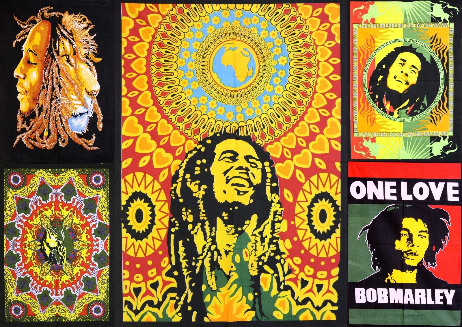 Bob Marley One Love Tapestry Wall Hanging Poster Flag Cotton Decor 4030
