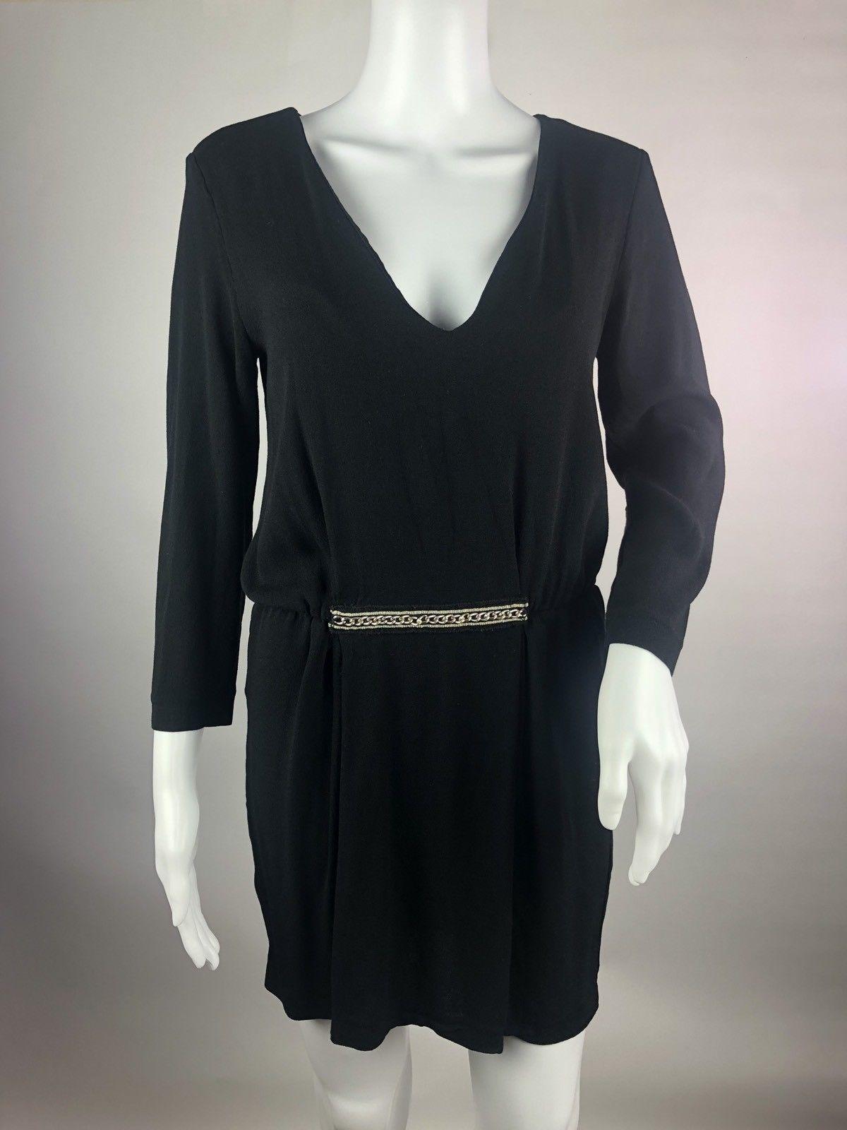 Zara little black dress womens size m plunge blouson long sleeve
