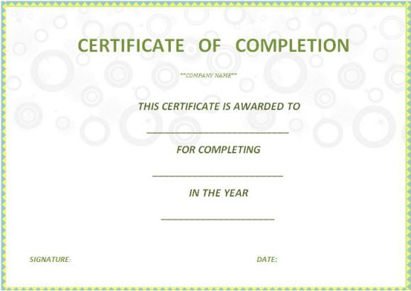 certificate_of_completion_template_free_printable Certificate of - certificate of completion template word