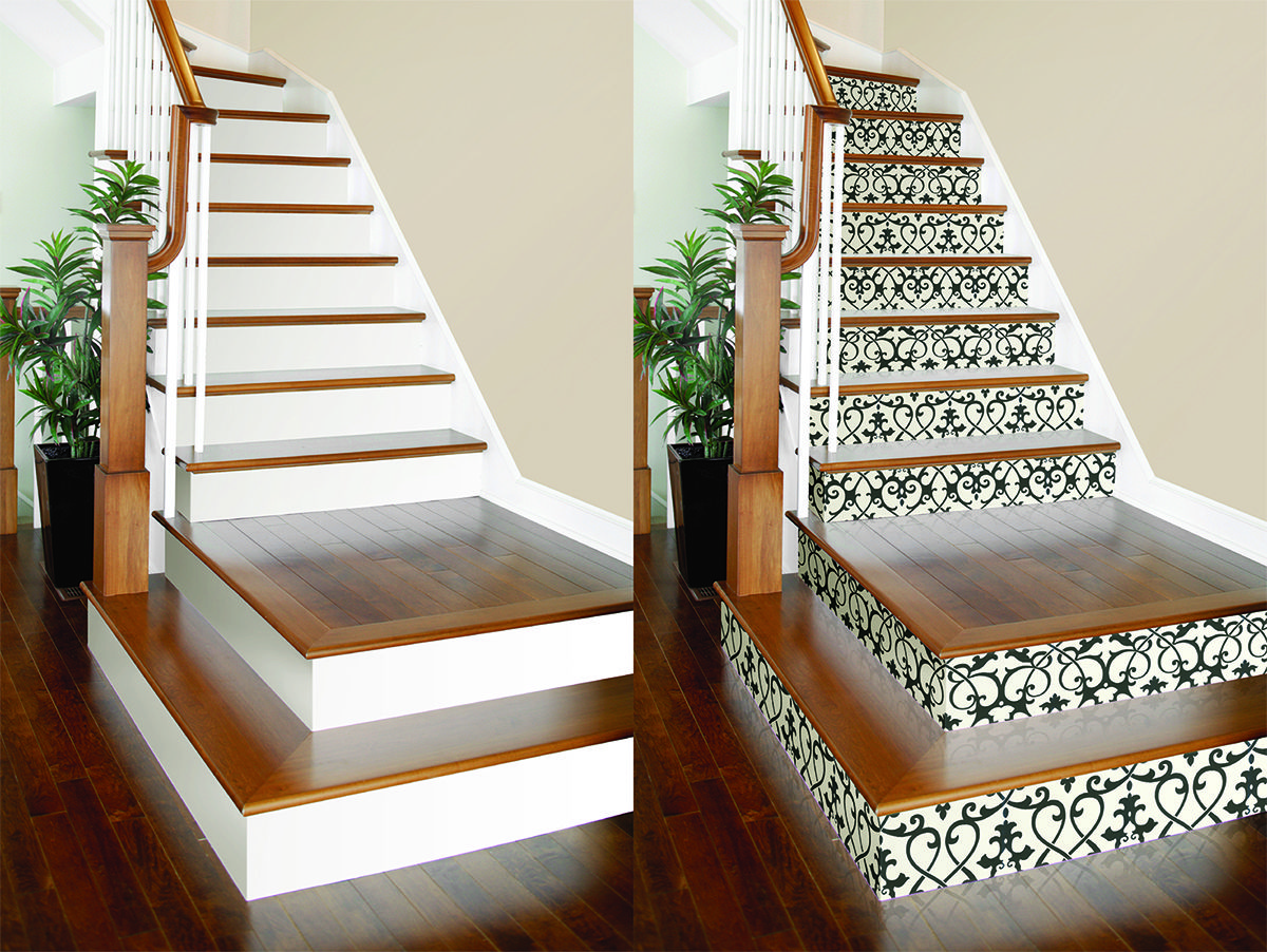 Best Diy Project Wallpaper On Stair Risers Brewster 400 x 300