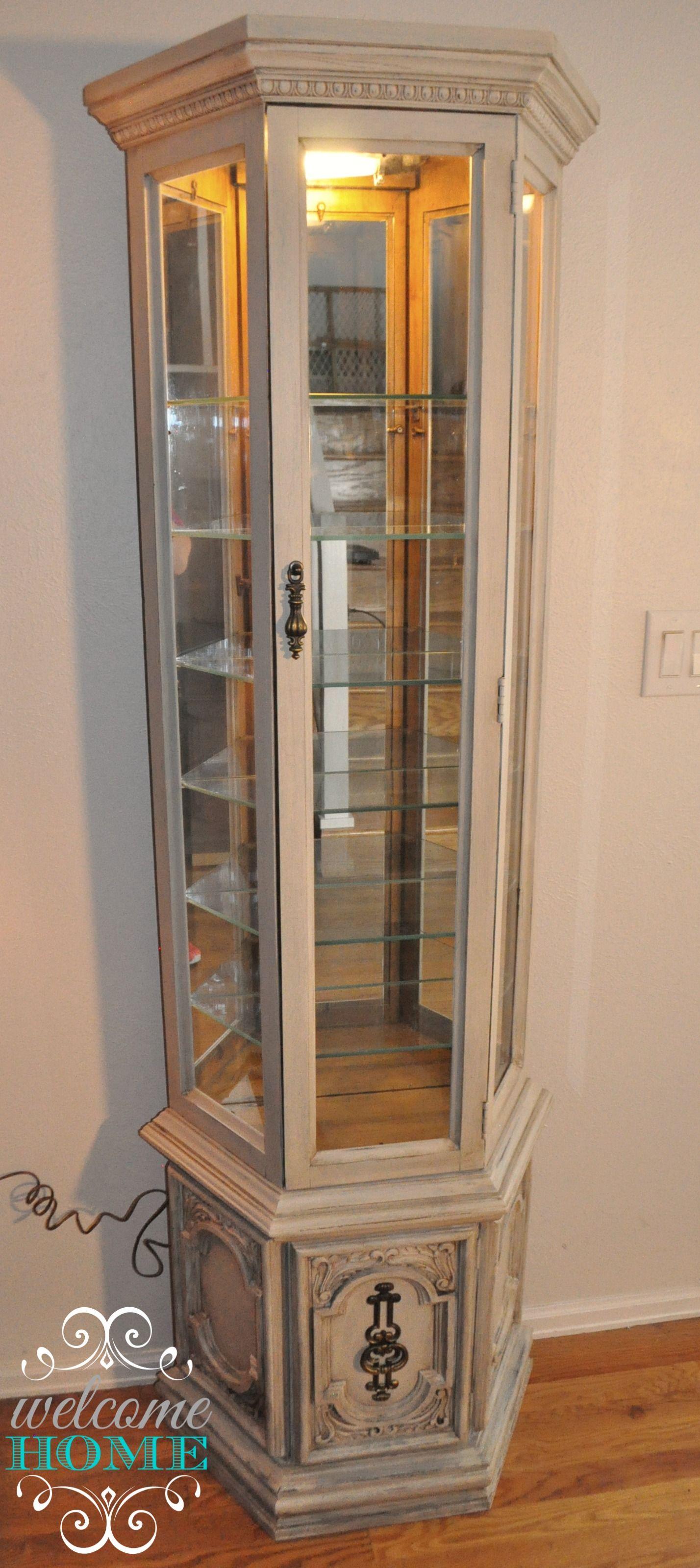 Vintage Curio Cabinet. Refinished With {Chalktique} Chalk Paint Additive.  Antique Lace White