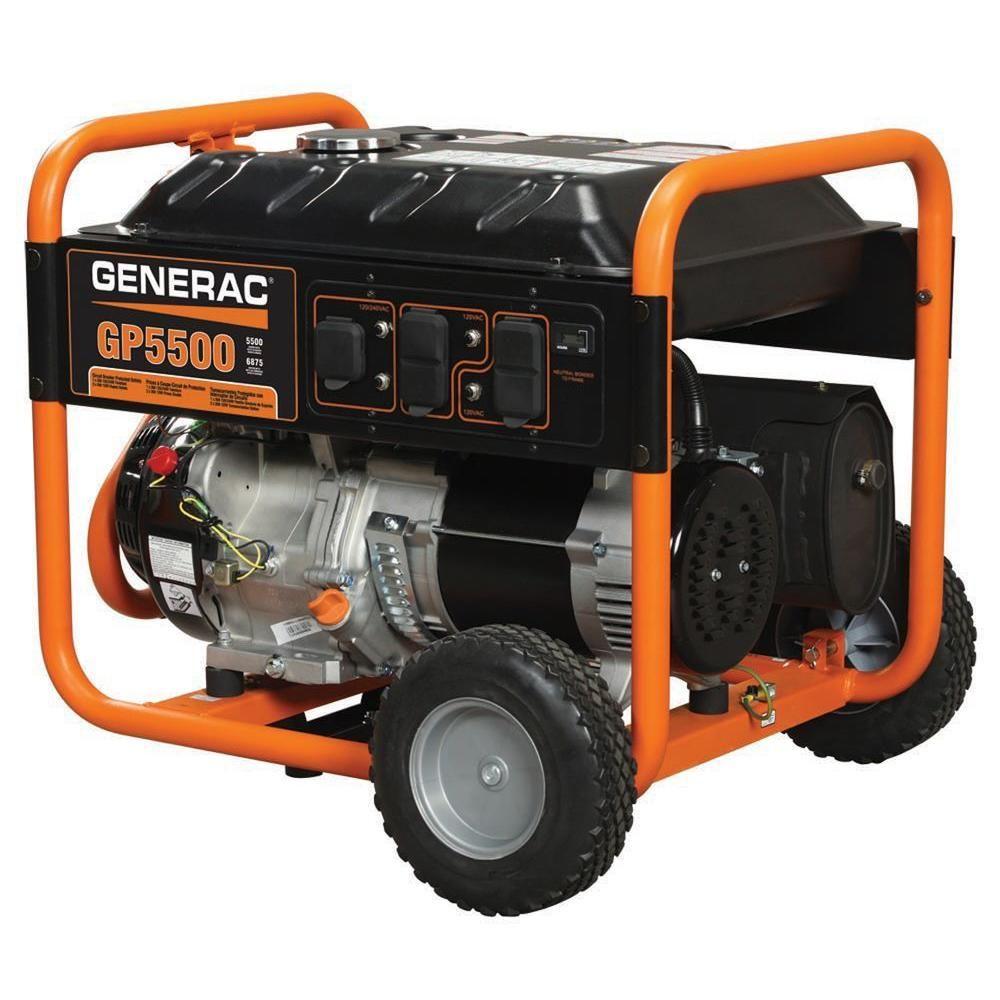 Generac 5 500 Watt Gasoline Powered Portable Generator 5939 The Home Depot In 2020 Portable Generator Emergency Generator Gas Powered Generator