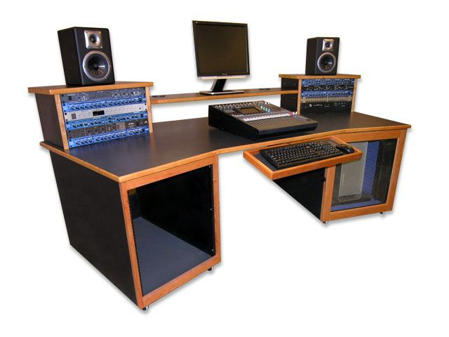 studio desk with top and bottom audio racks computer storage the risers are great. Interior Design Ideas. Home Design Ideas