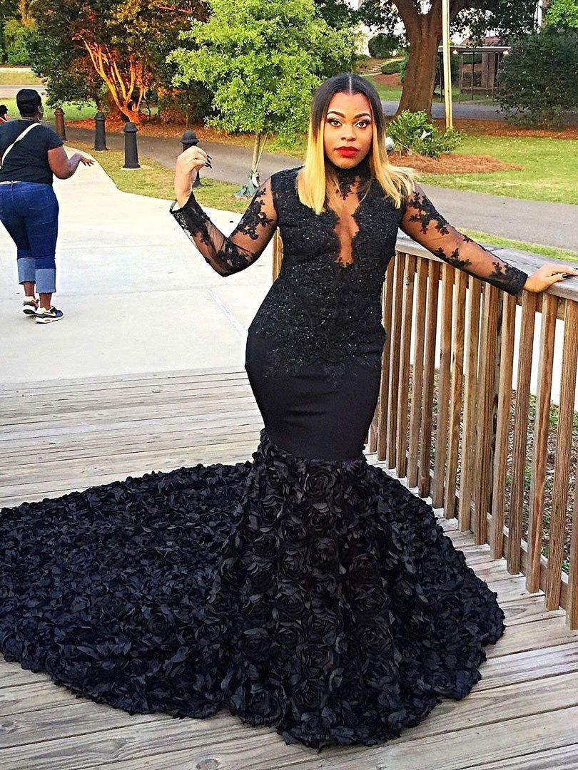 Black lace long sleeves mermaid prom dresses with long train