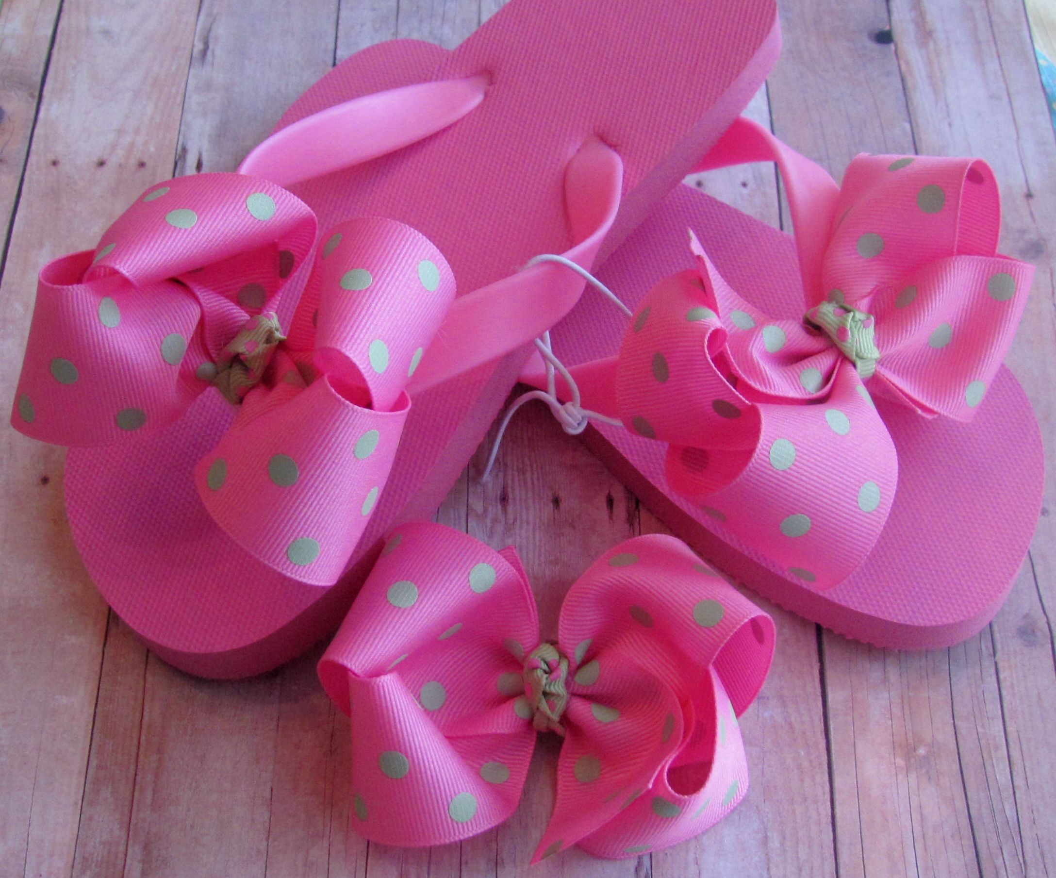 ca243ed29fdfd5 Interchangeable Flip Flops with Bow and Matching Hair Bow  9.00 ...
