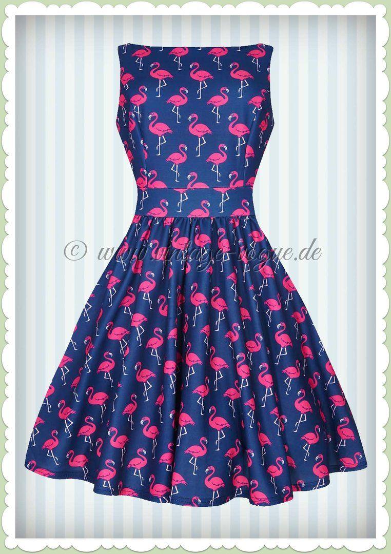 26d6be79884 Lady Vintage 40er Jahre Retro Flamingo Kleid - Tea Dress - Royal Blau
