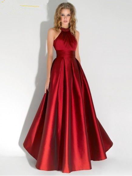 dab37a88ed Vestido de festa longo 2017 Vestidos Formais Off The Shoulder A line Cetim Vermelho  Vestido De