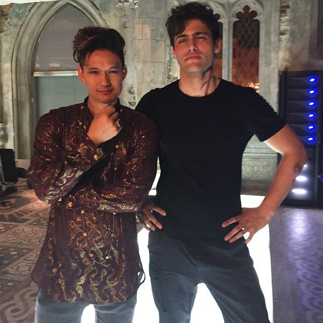 Malec. Yes, the whole picture. And it was hard to get! Matt and Harry were working on two different scenes. They had to be kidnapped and brought into the Institute set. I told them to think seriously about Malec which explains the expressions.