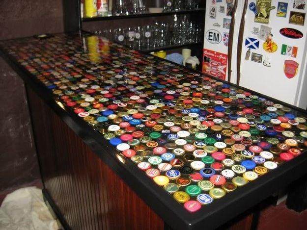 Bottle Cap Bar Top   Diy bottle cap crafts, Bottle cap ...