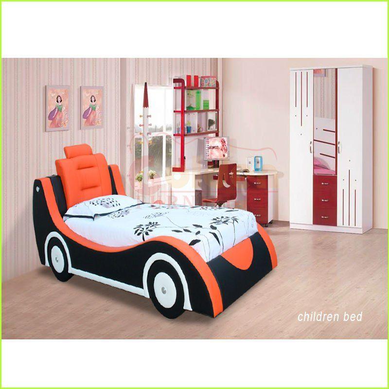 Azul y naranja lindo y nico cart n mobiliario para ni os coche cama camas identificaci n del - Cama coche para ninos ...