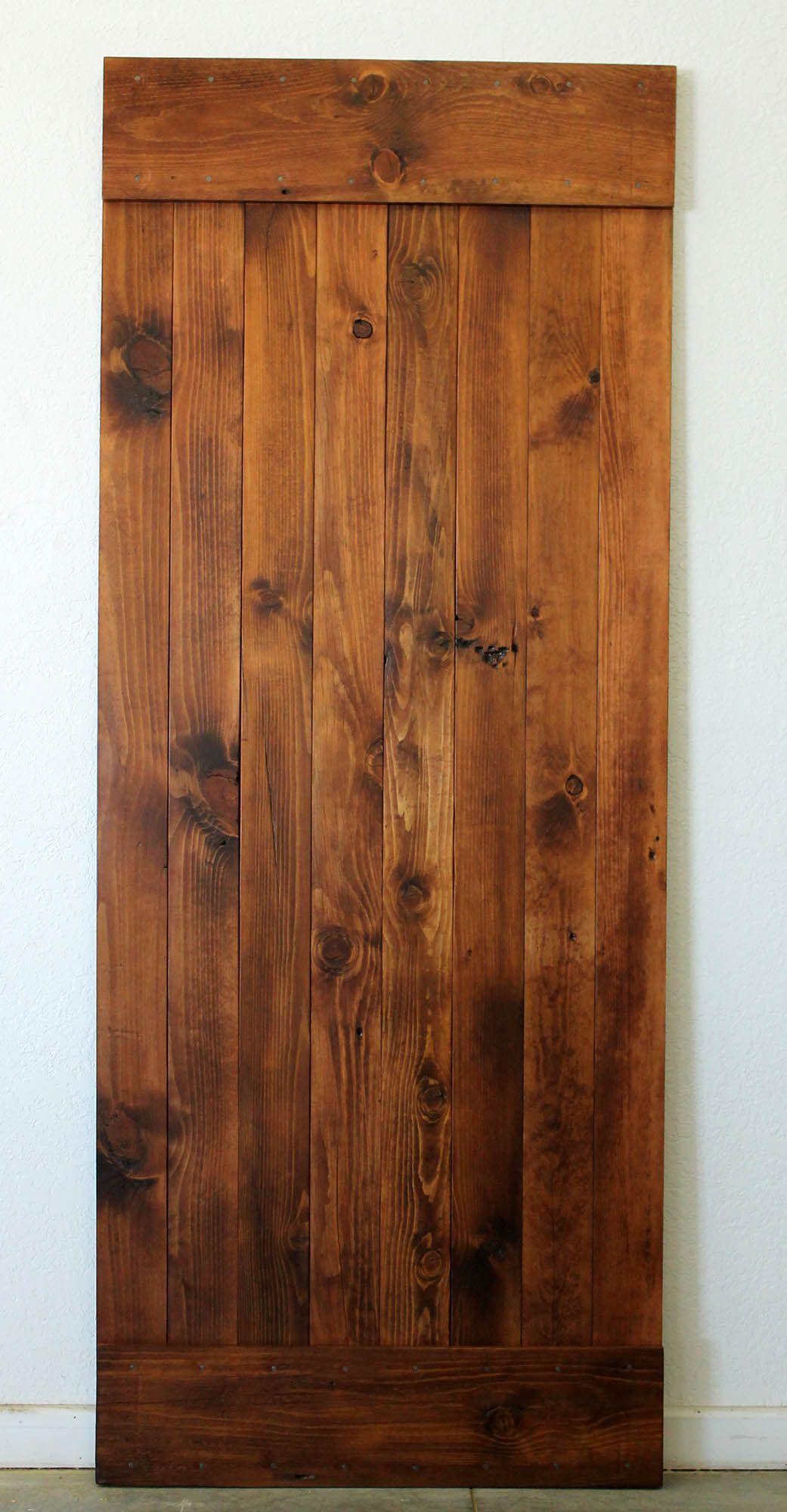 Reclaimed Sliding Barn Door Smooth Pine W Dark Walnut Stain