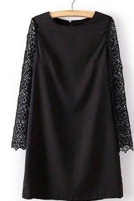 30f849afc1b Короткое черное платье-трапеция с длинными кружевными рукавами ...