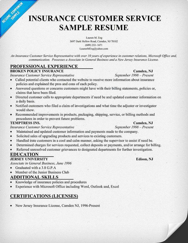 insurance csr resume sample