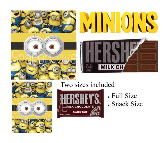 Pixar Minions Hershey Candy or Chocolate Bars 2 by SharedLove, $2.50