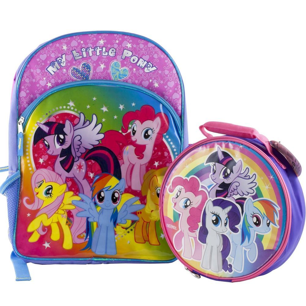 my little pony backpack school book bag lunch box back. Black Bedroom Furniture Sets. Home Design Ideas