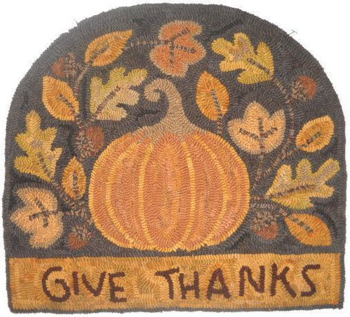 Give thanks hooked rug by Merrie James-Bell. Pattern by Teresa Kogut. #pumpkin #autumn #fall #leaves #rug #hookedrug
