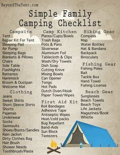 Simple Family Camping Checklist From http://BeyondTheTent.com http://www.beyondthetent.com/simple-family-camping-checklist/