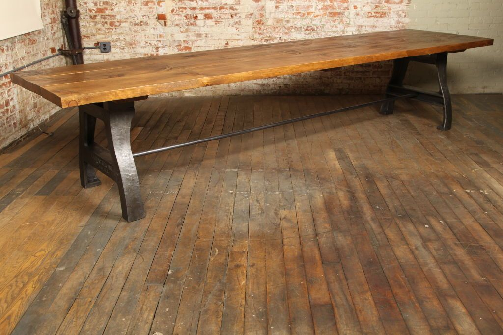 Marvelous Industrial Table Legs | Vintage Industrial Dining/Display Table At 1stdibs