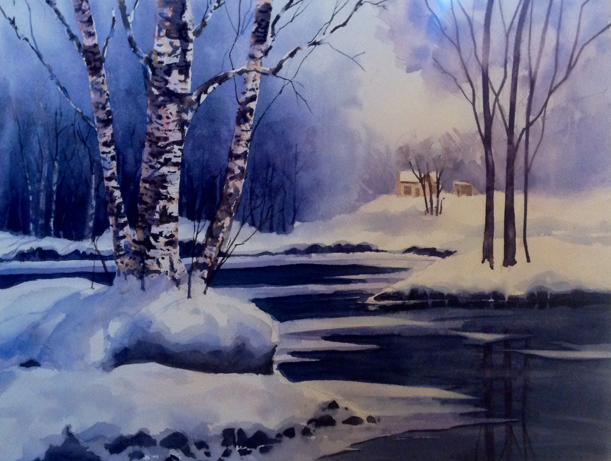 Winter Evening 12in X 16in Watercolour on Arches 140lb cold pressed paper