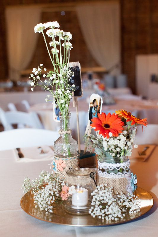 Jennine And Seth Photo By Nicole Cassano Photography Wedding Decor Rustic Barn Centerpiece Babys Breath