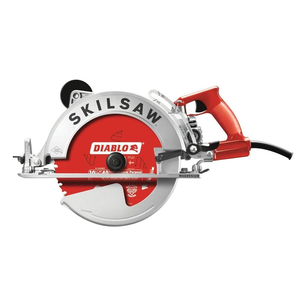 Skilsaw 15 Amp Corded Electric 10 1 4 In Magnesium Sawsquatch Worm Drive Circular Saw With 40 Tooth Diablo Carbide Blade Spt70wm 22 The Home Depot Worm Drive Circular Saw Skil Saw Worm Drive