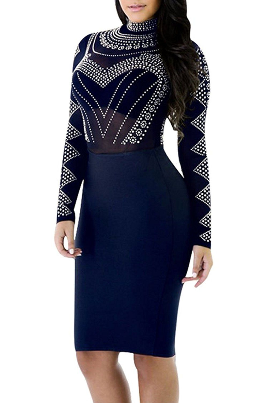 bbaf4d86712f Amazon.com: PinkWind Women Sexy Sheer Mesh Lace Dots Print Top Club Bodycon  Dress: Clothing