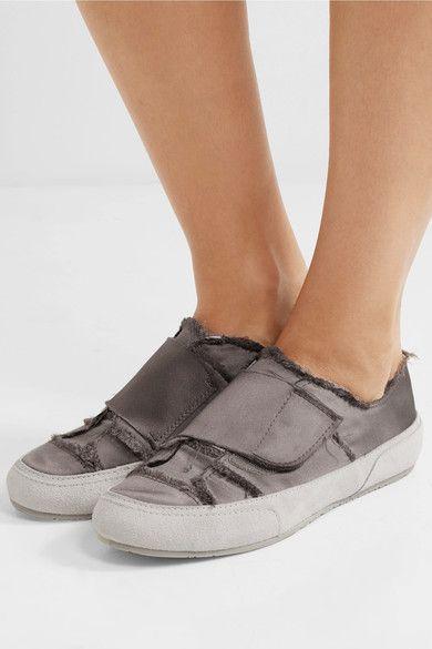 sale retailer 6c15b 5db23 Pedro Garcia - Palmira Suede-trimmed Frayed Satin Sneakers ...