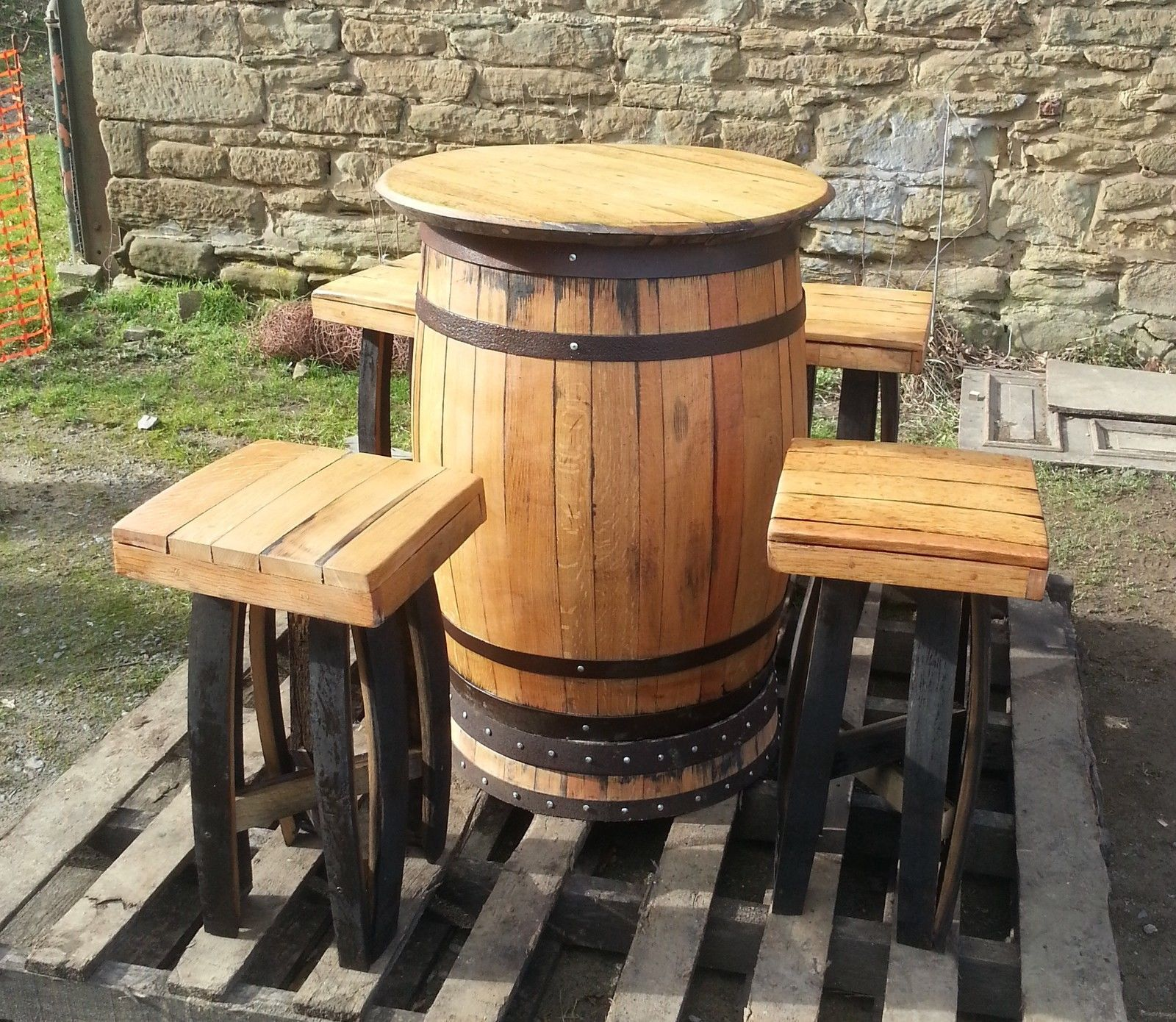 Oak whisky barrel bar table and 4 stools set - made from recycled whisky casks   & Oak whisky barrel bar table and 4 stools set - made from recycled ...