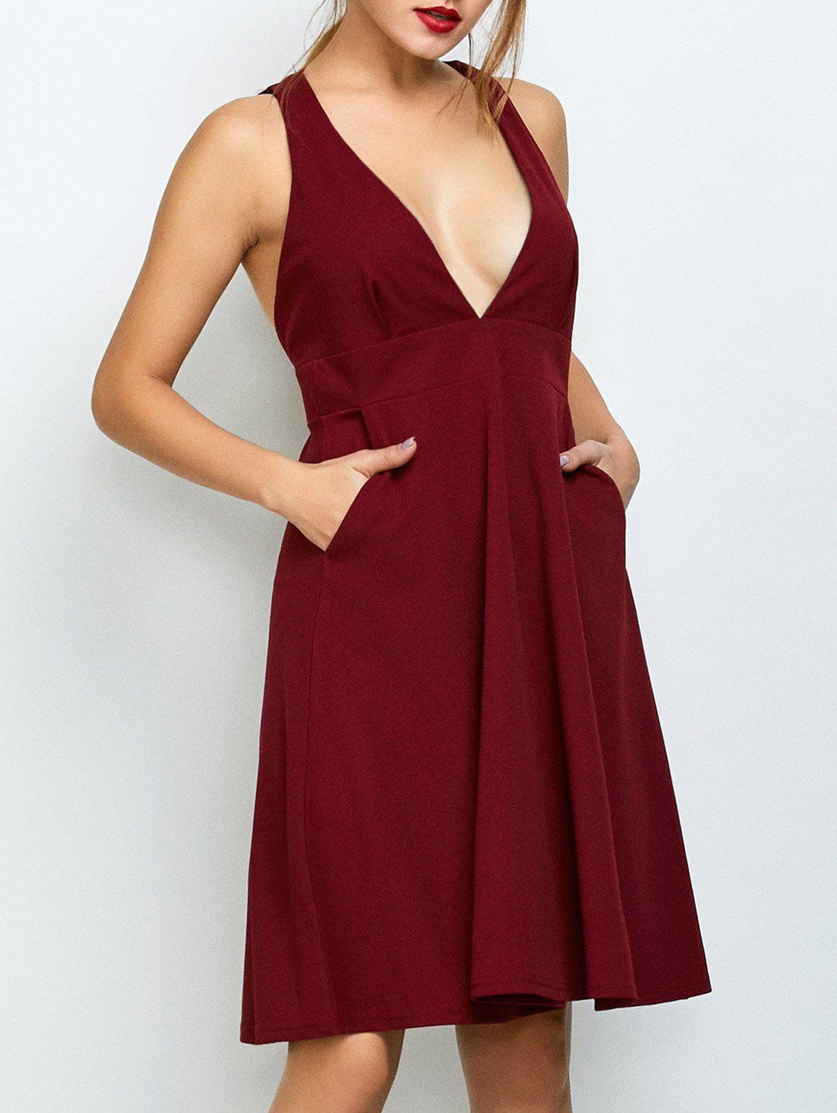Empire waist sleeveless plunging neck dress in wine red sammydress