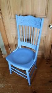 Magnificent Vintage Pressed Back Chair In Blue Chalk Paint Very Theyellowbook Wood Chair Design Ideas Theyellowbookinfo