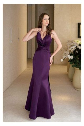 Dark Purple Mermaid Bridesmaid Dress with V-Neckline | Satin ...