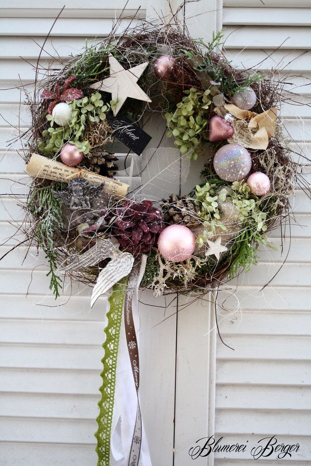 Weihnachtsdeko - :::: Türkranz  Shabby Weihnacht  :::: - ein Designerstück von BlumereiBerger bei DaWanda #weihnachtsdekohauseingang
